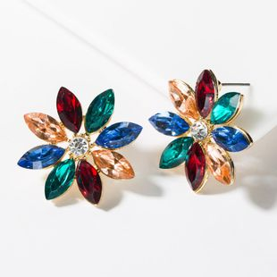 Fashion color rhinestone flower stud earrings NHJE150131's discount tags