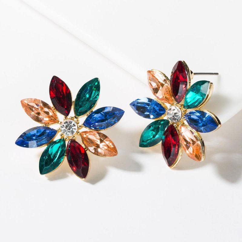 Fashion color rhinestone flower stud earrings NHJE150131