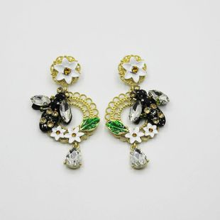 New Baroque Dripping Flower Bee Earrings NHWJ150155's discount tags