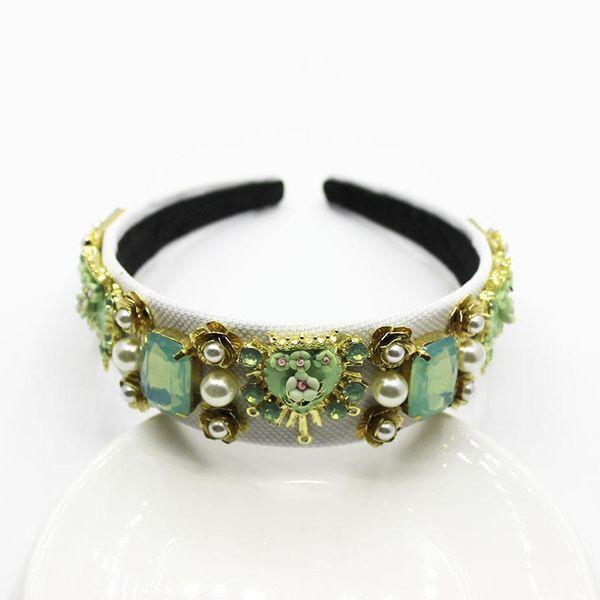 New Baroque Emerald Geometric Hair Accessories Flower Headband NHWJ150172