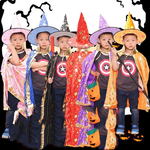 Halloween Masquerade Cosplay Sorcerer Witch Children's Cape Cloak NHHB150193