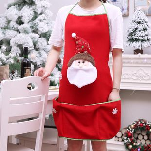 New Christmas high-grade brushed cloth apron Santa snowman apron NHHB150194's discount tags