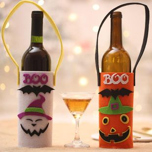 New Halloween champagne red wine cartoon pumpkin wine bottle bag non-woven wine bottle set NHHB150198's discount tags