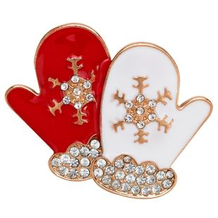 Stylish Christmas Diamond Gloves Dropping Oil Brooch NHJE150200's discount tags
