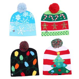 Christmas Knitted LED Lights Christmas Tree Snowman Glowing Hat NHHB150213's discount tags
