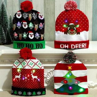Christmas wool hat colorful shiny knit hat NHMV150214's discount tags
