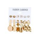 Fashion cool wind geometry round metal stud earrings NHDP149900