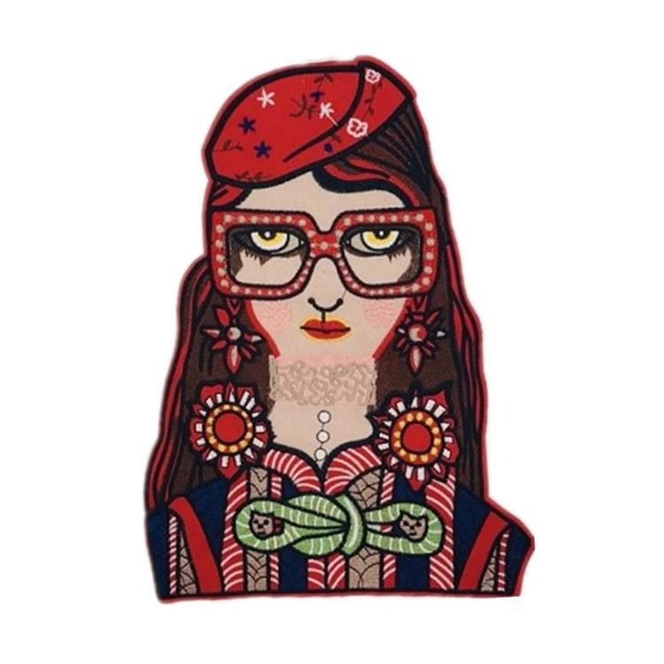 Fashion woman head clothes patch stickers NHLT150215