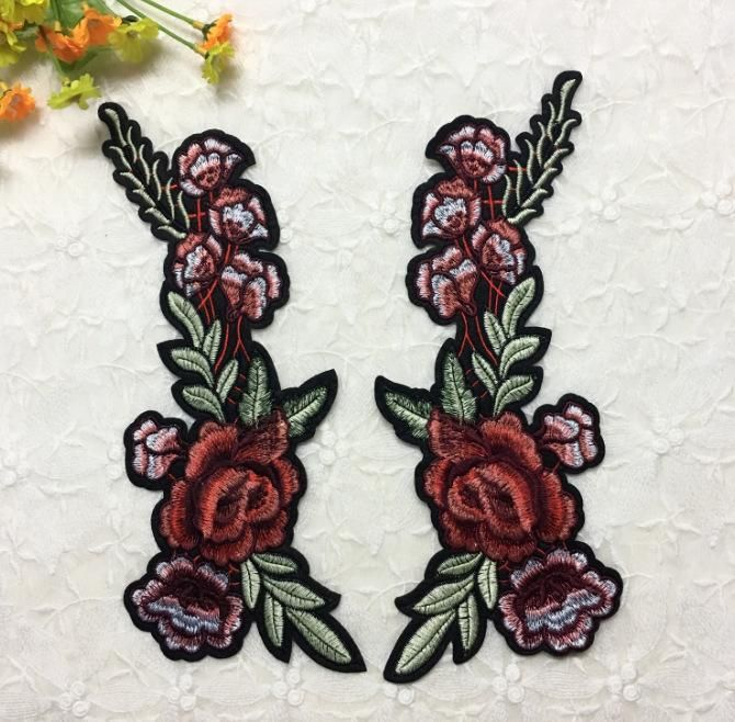 Embroidery on flower DIY plant clothing patch stickers NHLT150241
