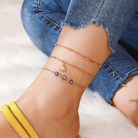 Europe and the United States popular alloy chain eye shell 3 set of anklet bracelet NHGY150276's discount tags