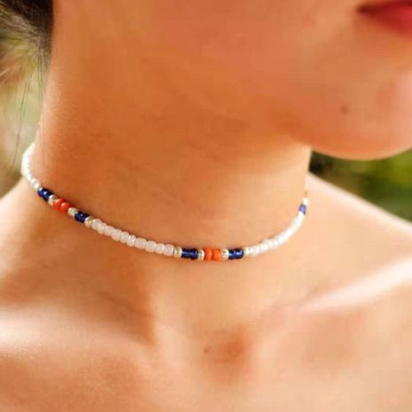 Bohemian short solid color rice beads choker NHCT150307's discount tags