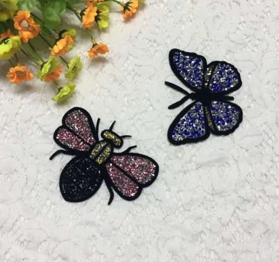 Fashion bee butterfly rhinestone beaded cloth sticker NHLT150313