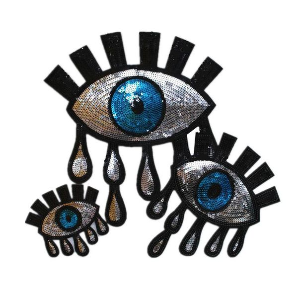 Tears chapter silver eyes sequins embroidered large cloth stickers NHLT150340