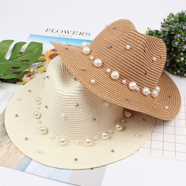 Fashion England flat straw hat pearl beaded hat NHXO150341