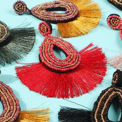 Fashion handmade rice beads fan-shaped tassel earrings NHMD150362's discount tags