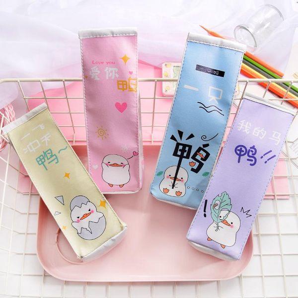 Creative cartoon milk box pen bag net red school PA pencil case NHHE150407