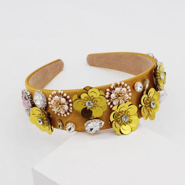 New Baroque diamond-studded iron flower yellow headband NHWJ150472
