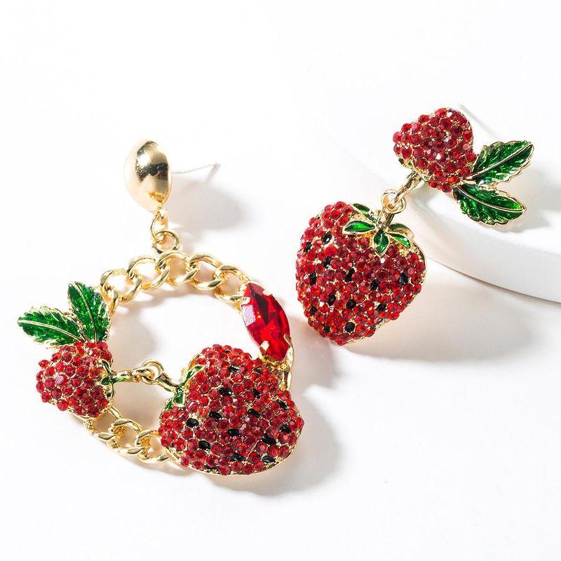 Fashion color rhinestone strawberry asymmetric earrings NHJE150491