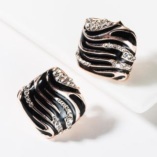 Fashion alloy square striped drip rhinestone stud earrings NHJE150493's discount tags