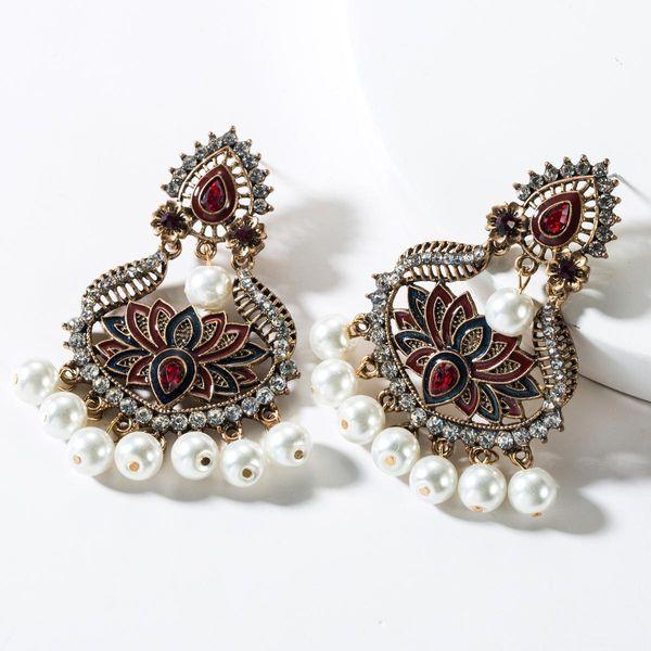 Fashion alloy rhinestone drop oil flower pearl earrings NHJE150495