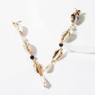 Fashion multi-layer shell alloy pearl earrings NHJE150498's discount tags