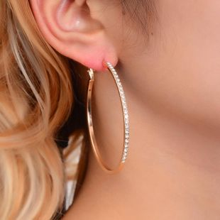 Fashion diamond hoop aretes NHDP150505's discount tags