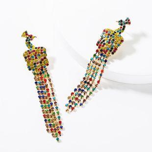 Fashion color diamond peacock earrings NHJE150517's discount tags