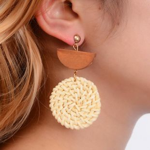 Fashion geometric rattan woven earrings NHDP150520's discount tags