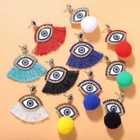 Boucles d'oreilles boule en molleton New Crystal Devil s Eye NHJQ150526's discount tags