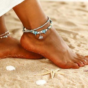 Fashion Double Layer Elephant Starfish Beaded Anklet NHPF150527's discount tags