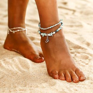 Fashion double-layer handmade starfish 3D character anklet NHPF150528's discount tags
