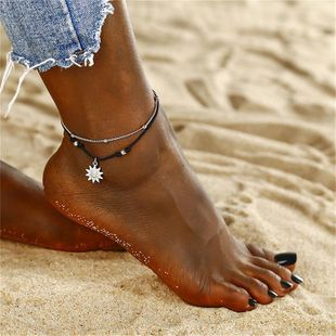 Simple rope sun alloy double-layer anklet NHPF150529's discount tags