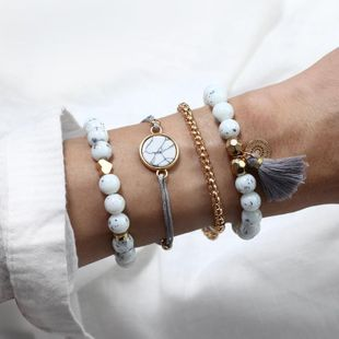 Fashion turquoise hollow pierce tassel ball beaded love bracelet set NHPF150533's discount tags