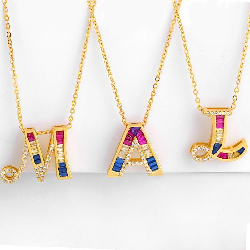 Fashion copper inlaid zircon color 26 English alphabet necklace NHAS150547
