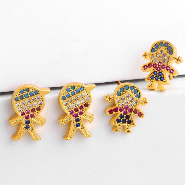 New colored copper inlaid zircon cartoon character boy girl stud earrings NHAS150548