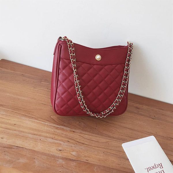 Korean version of the wild rhombic chain pearl shoulder bag NHPB150659