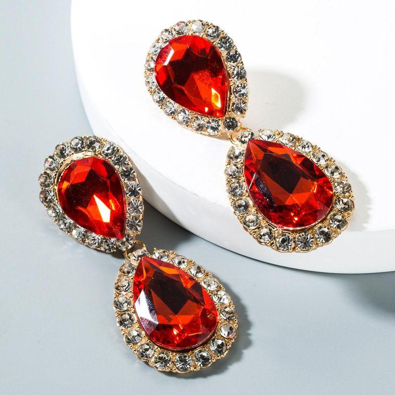 Drop-shaped crystal alloy earrings NHLN150789