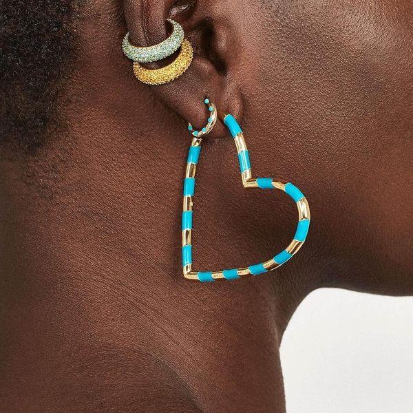 Drip oil multicolor heart-shaped alloy hoop earrings NHLN150795