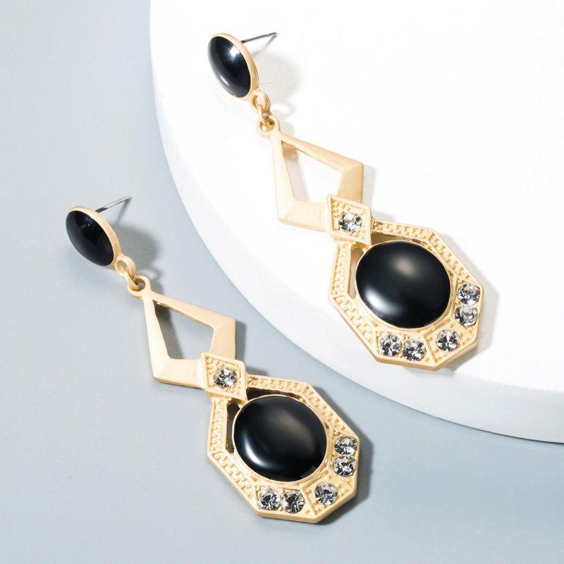 Red black drop-shaped drop oil alloy earrings NHLN150801