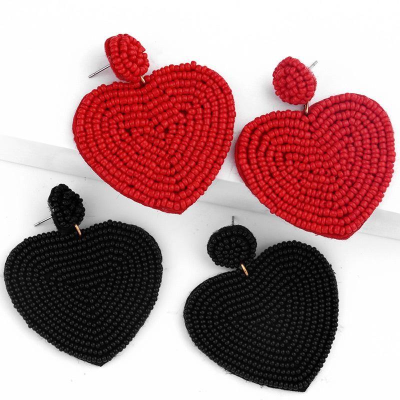 Beaded heart-shaped earrings NHAS150813