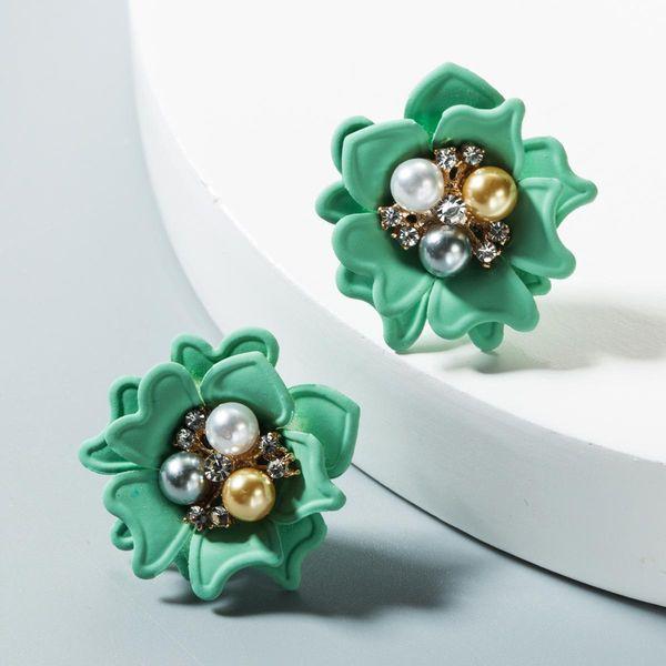 Fashion pearl resin flower stud earrings NHLN150815