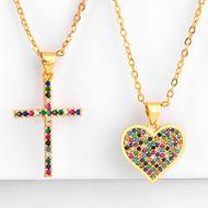 Copper inlay zircon color cross heart necklace NHAS150821