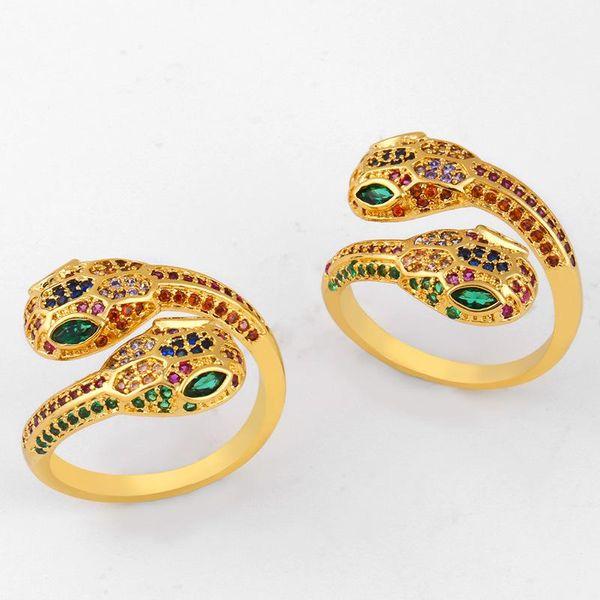 Colored zircon copper serpentine open ring NHAS150822