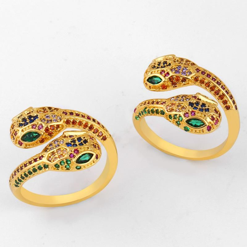 Colored zircon copper serpentine open ring NHAS150822