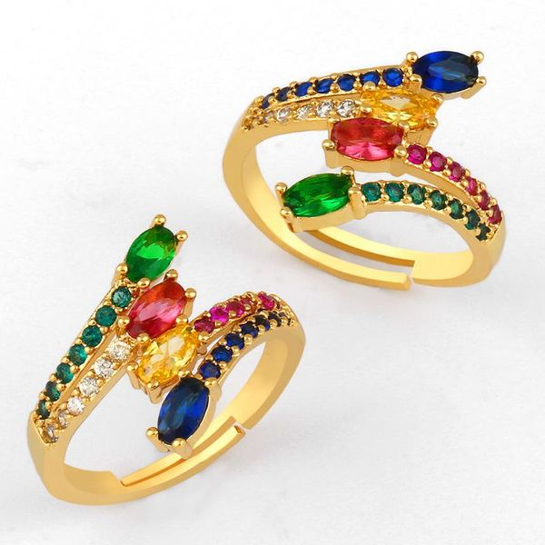 Copper plated micro-set color zircon tail rings NHAS150823