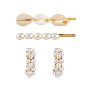 Fashion imitation pearl conch shell hairpin earrings NHKC150843's discount tags