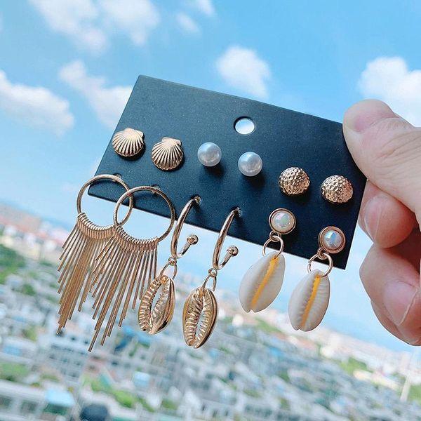 Hawaiian style shell tassel earrings set NHSD150848