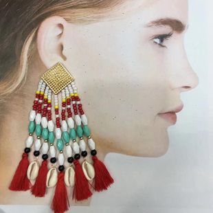 Fashion rice beads tassel conch alloy earrings NHKC150884's discount tags