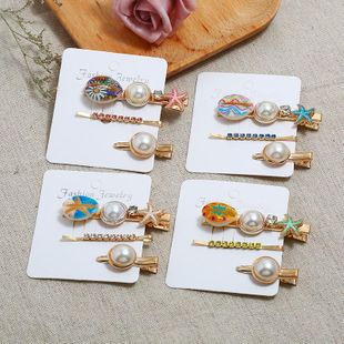 Sweet hair clip three-piece imitation pearl shell hair accessories NHKC150907's discount tags