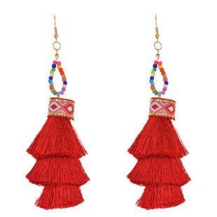 Fashion vintage fringed multi-layer earrings NHWF150952's discount tags